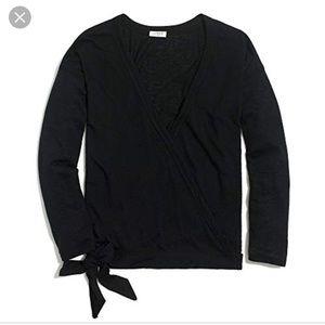 NWT J.Crew Black Tie Front Wrap Shirt